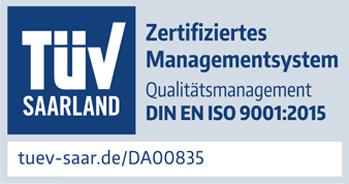 Zertifikat: Zertifiziertes Managementsystem (Bild: TÜV Saarland)
